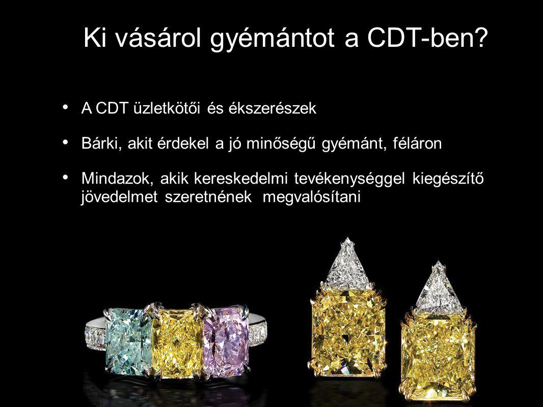 Ki vásárol gyémántot a CDT-ben? A CDT üzletkötői és ékszerészek Bárki, akit érdekel a jó minőségű gyémánt, féláron Mindazok, akik kereskedelmi tevéken