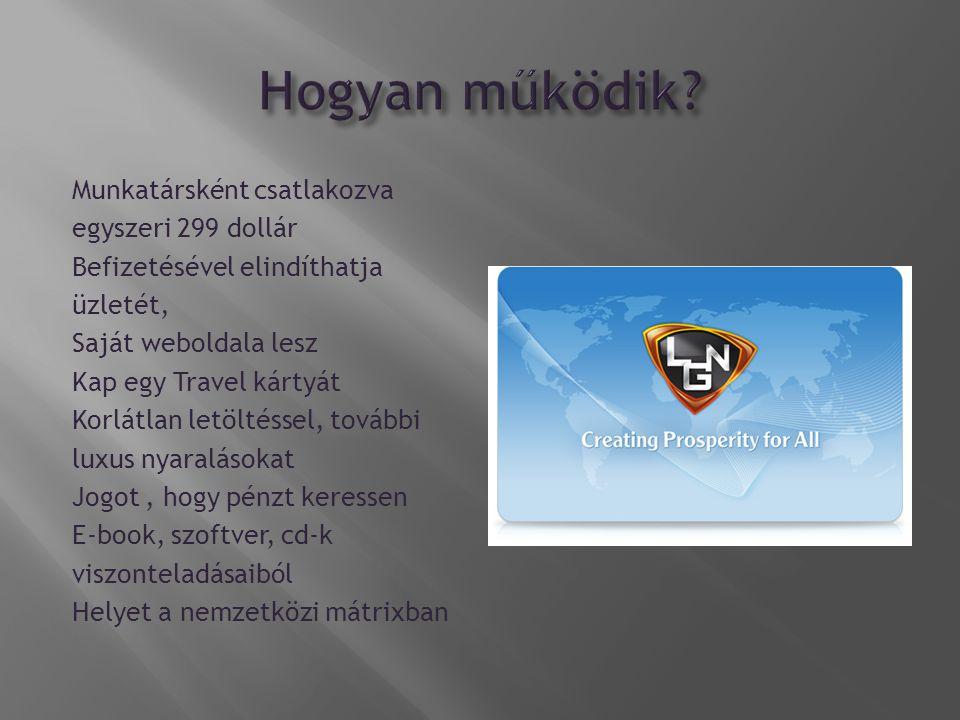 Munkatársként csatlakozva egyszeri 299 dollár Befizetésével elindíthatja üzletét, Saját weboldala lesz Kap egy Travel kártyát Korlátlan letöltéssel, további luxus nyaralásokat Jogot, hogy pénzt keressen E-book, szoftver, cd-k viszonteladásaiból Helyet a nemzetközi mátrixban