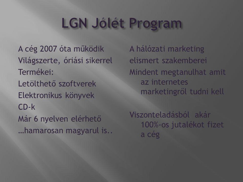 A cég 2007 óta működik Világszerte, óriási sikerrel Termékei: Letölthető szoftverek Elektronikus könyvek CD-k Már 6 nyelven elérhető …hamarosan magyarul is..