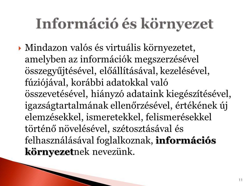 információs környezet  Mindazon valós és virtuális környezetet, amelyben az információk megszerzésével összegyűjtésével, előállításával, kezelésével,