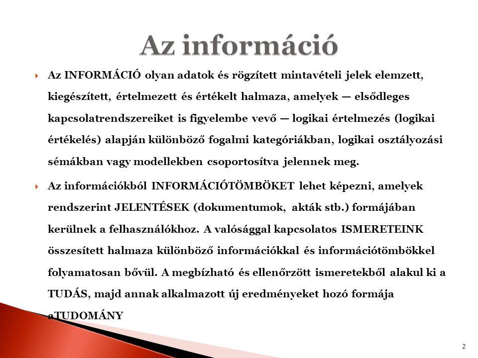  Az INFORMÁCIÓ olyan adatok és rögzített mintavételi jelek elemzett, kiegészített, értelmezett és értékelt halmaza, amelyek — elsődleges kapcsolatren