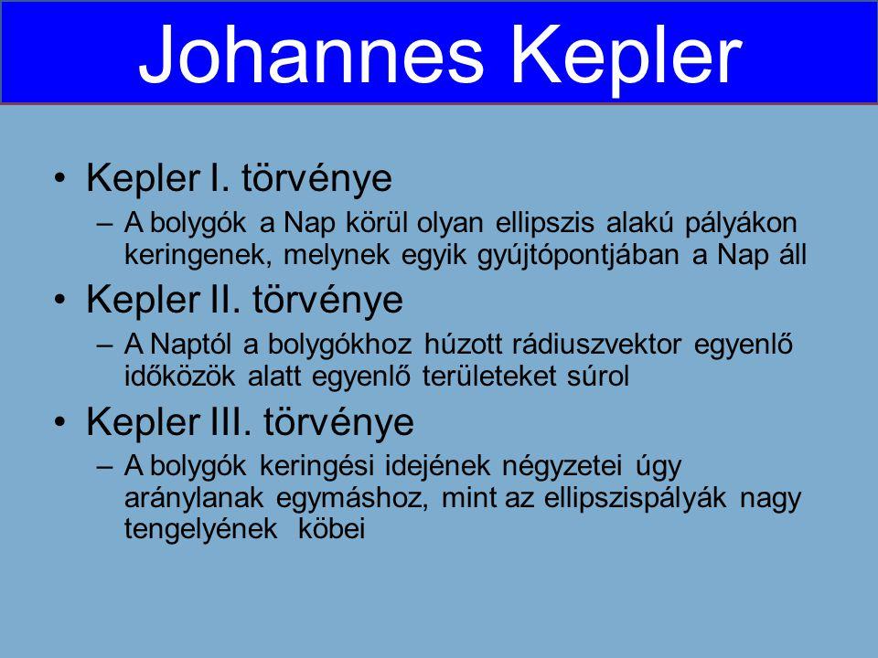 Johannes Kepler Kepler I. törvénye –A bolygók a Nap körül olyan ellipszis alakú pályákon keringenek, melynek egyik gyújtópontjában a Nap áll Kepler II