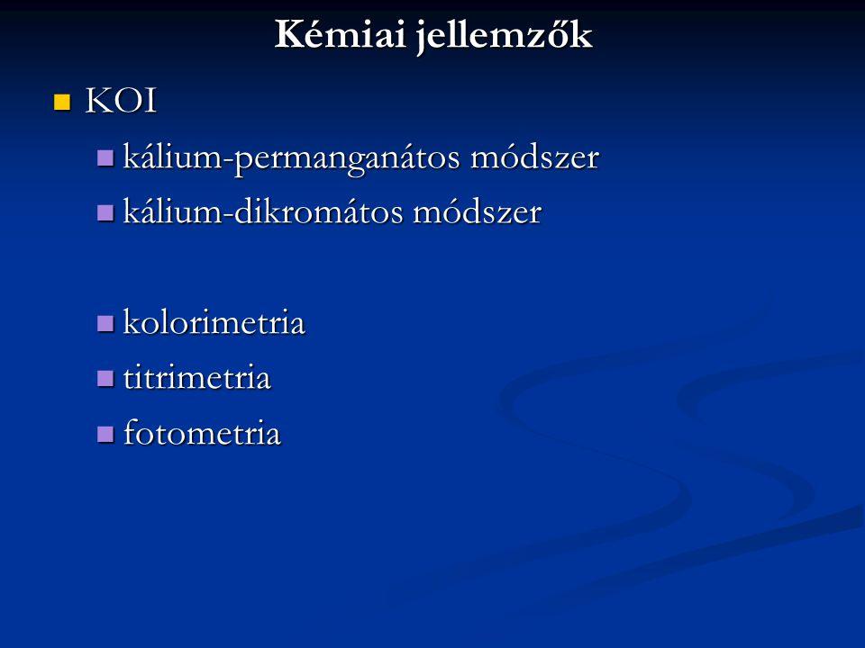 Kémiai jellemzők KOI KOI kálium-permanganátos módszer kálium-permanganátos módszer kálium-dikromátos módszer kálium-dikromátos módszer kolorimetria ko