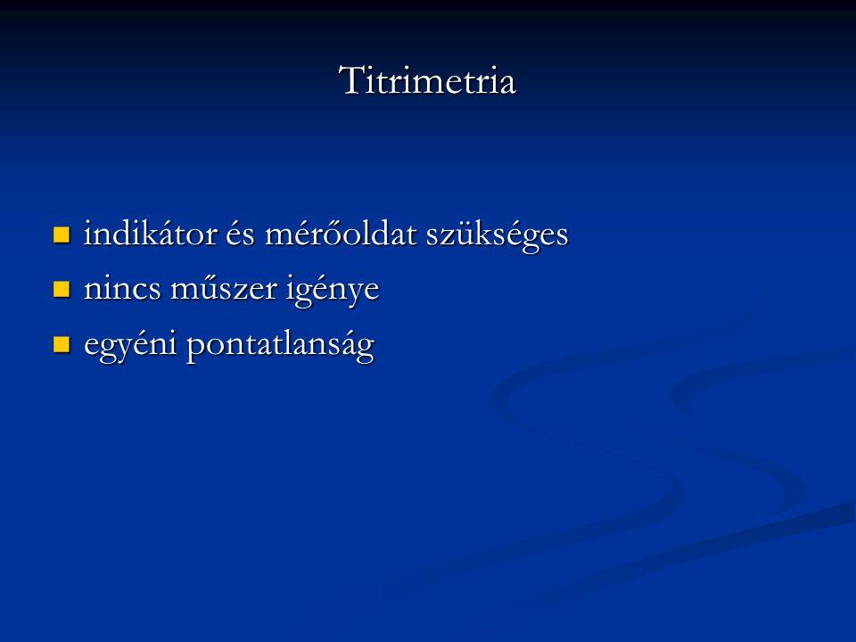 Titrimetria indikátor és mérőoldat szükséges indikátor és mérőoldat szükséges nincs műszer igénye nincs műszer igénye egyéni pontatlanság egyéni ponta