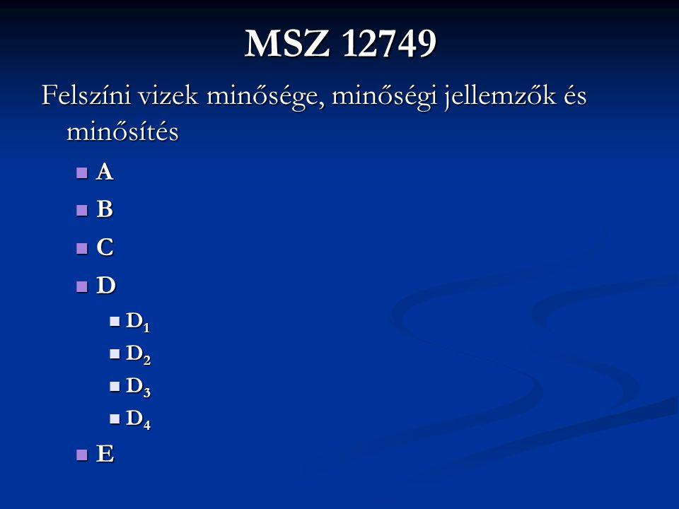 MSZ 12749 Felszíni vizek minősége, minőségi jellemzők és minősítés A B C D D 1 D 1 D 2 D 2 D 3 D 3 D 4 D 4 E