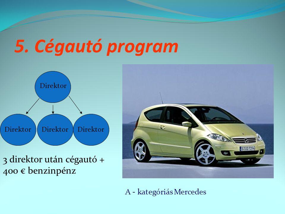5. Cégautó program Direktor 3 direktor után cégautó + 400 € benzinpénz A - kategóriás Mercedes