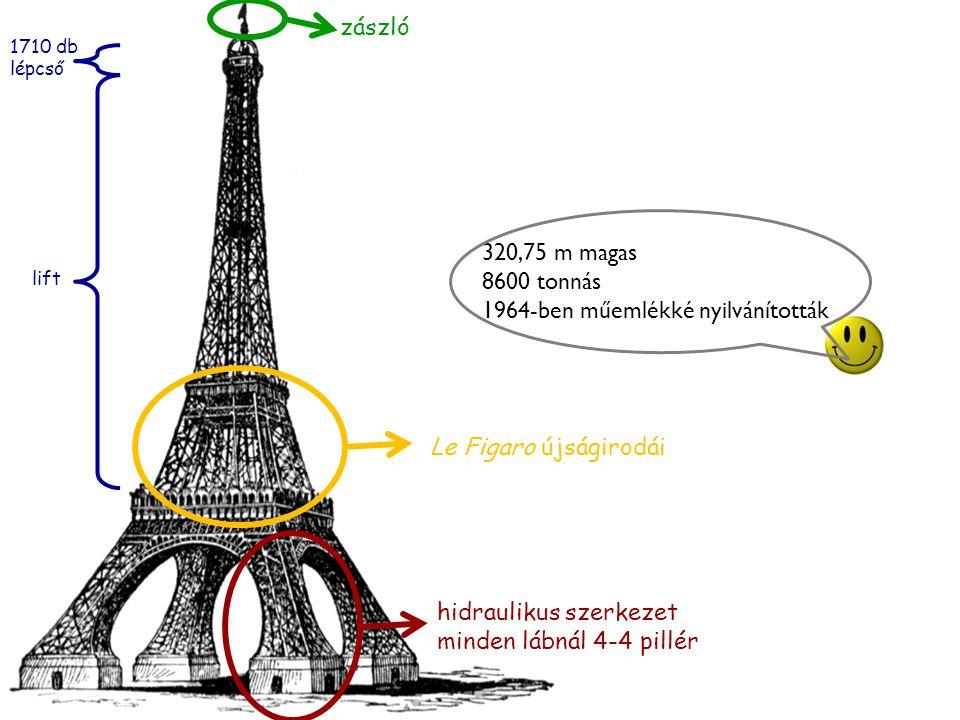 hidraulikus szerkezet minden lábnál 4-4 pillér Le Figaro újságirodái zászló lift 1710 db lépcső 320,75 m magas 8600 tonnás 1964-ben műemlékké nyilvánították