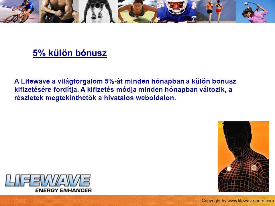 Sie 5% külön bónusz A Lifewave a világforgalom 5%-át minden hónapban a külön bonusz kifizetésére fordítja.