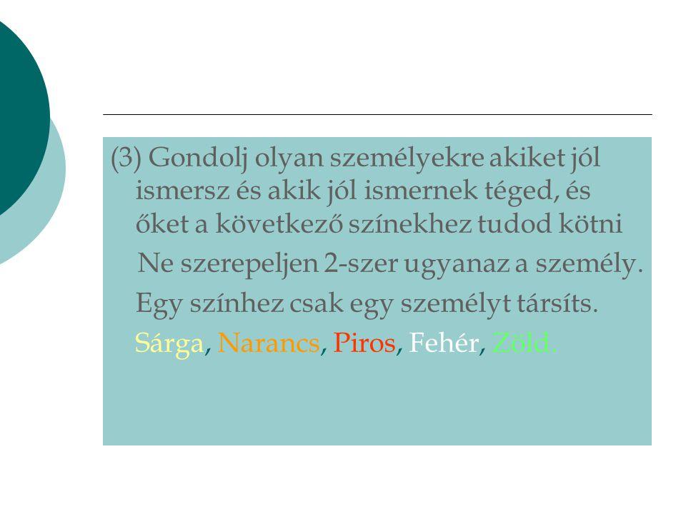 (3) Gondolj olyan személyekre akiket jól ismersz és akik jól ismernek téged, és őket a következő színekhez tudod kötni Ne szerepeljen 2-szer ugyanaz a