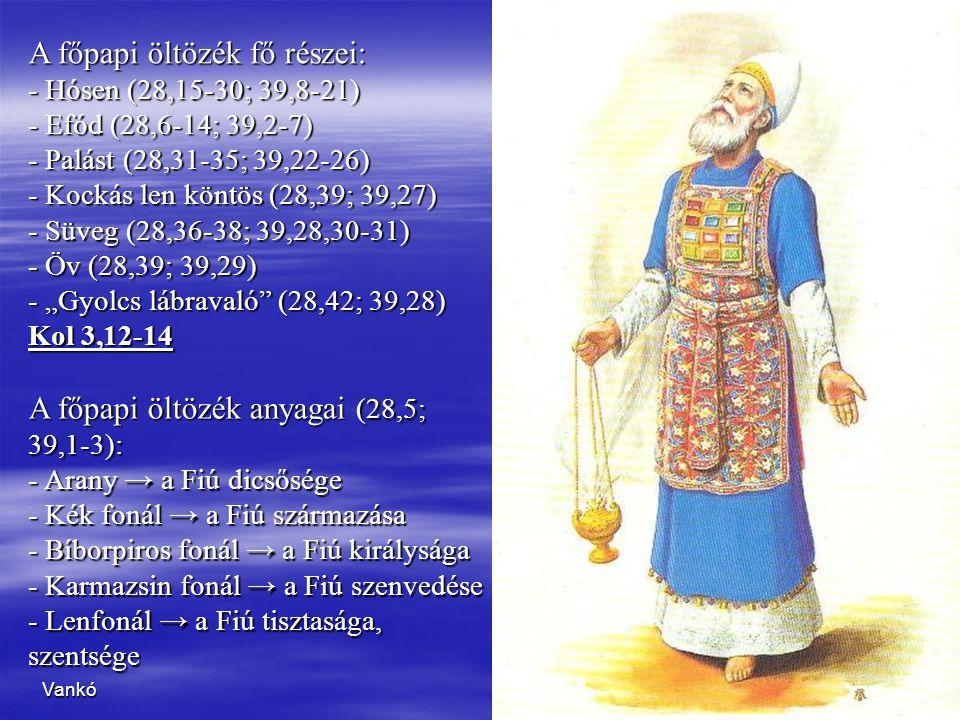 Vankó2 A főpapi öltözék fő részei: - H- H- H- Hósen (28,15-30; 39,8-21) - E- E- E- Efód (28,6-14; 39,2-7) - P- P- P- Palást (28,31-35; 39,22-26) - K-
