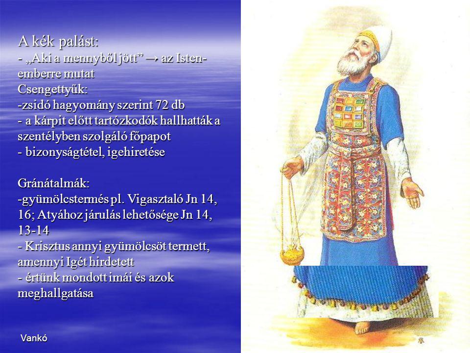 """Vankó7 A kék palást : - """"Aki a mennyből jött"""" → az Isten- emberre mutat Csengettyűk: -zsidó hagyomány szerint 72 db - a kárpit előtt tartózkodók hallh"""