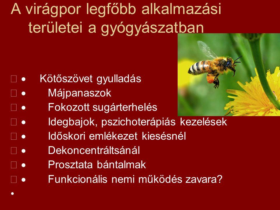 A virágpor legfőbb alkalmazási területei a gyógyászatban  Kötőszövet gyulladás  Májpanaszok  Fokozott sugárterhelés  Idegbajok, pszichoterápiá