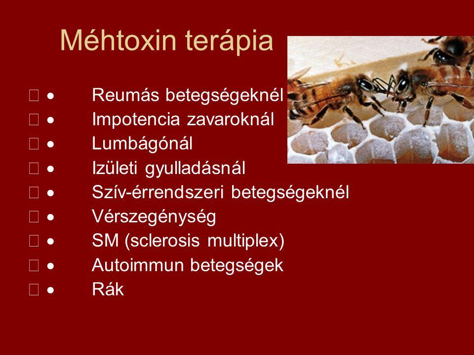 Méhtoxin terápia  Reumás betegségeknél  Impotencia zavaroknál  Lumbágónál  Izületi gyulladásnál  Szív-érrendszeri betegségeknél  Vérszegén
