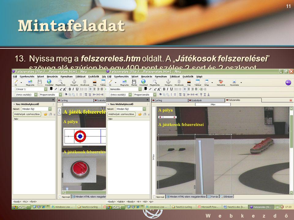 WebStarter ECDL W e b k e z d ő 13. Nyissa meg a felszereles.htm oldalt.