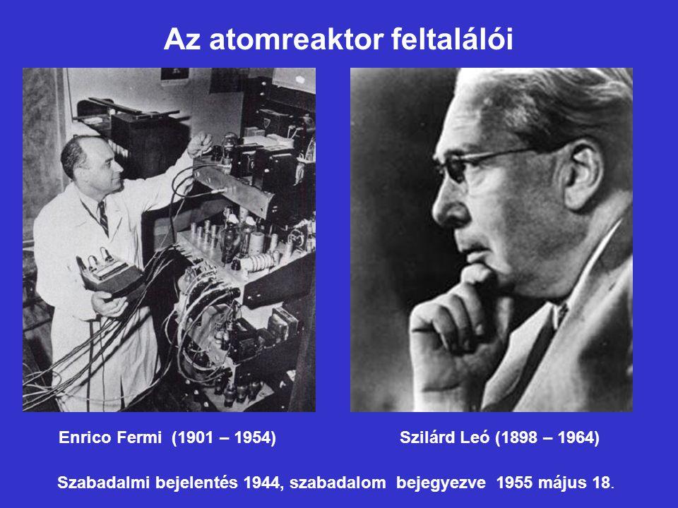 Az atomreaktor feltalálói Enrico Fermi (1901 – 1954) Szilárd Leó (1898 – 1964) Szabadalmi bejelentés 1944, szabadalom bejegyezve 1955 május 18.
