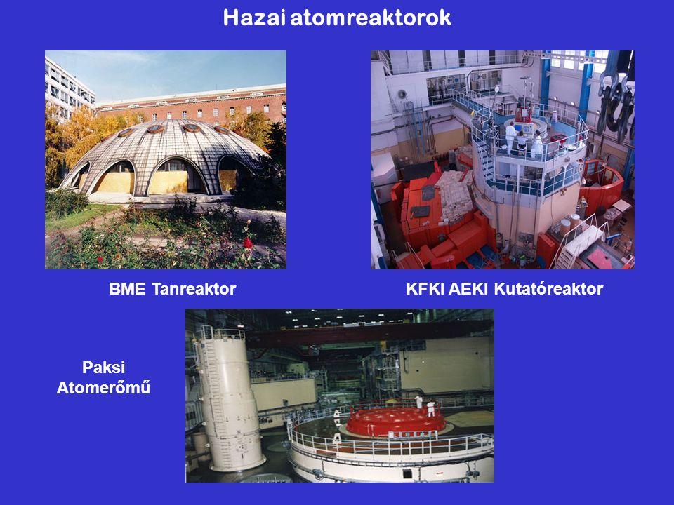 Hazai atomreaktorok BME Tanreaktor KFKI AEKI Kutatóreaktor Paksi Atomerőmű
