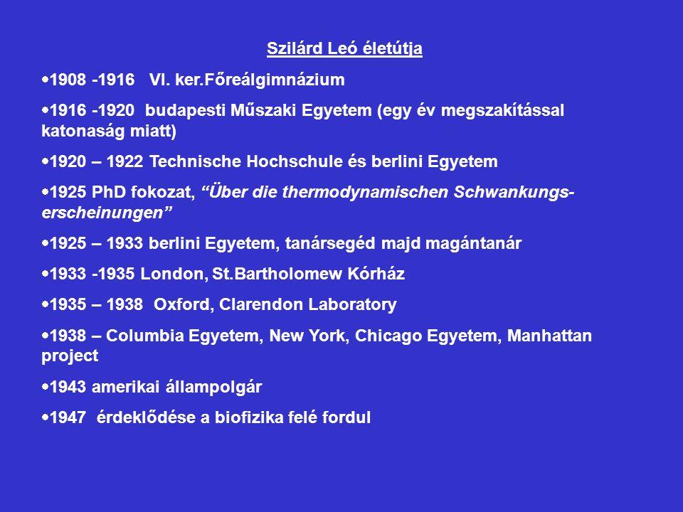 Szilárd Leó életútja  1908 -1916 VI. ker.Főreálgimnázium  1916 -1920 budapesti Műszaki Egyetem (egy év megszakítással katonaság miatt)  1920 – 1922