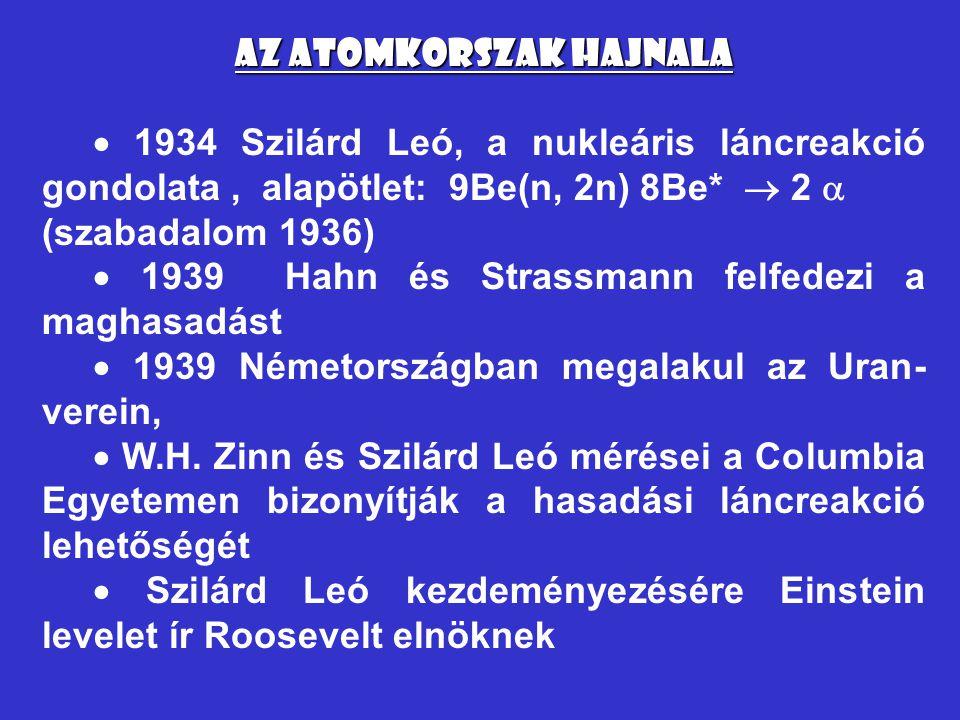 Az atomkorszak hajnala  1934 Szilárd Leó, a nukleáris láncreakció gondolata, alapötlet: 9Be(n, 2n) 8Be*  2  (szabadalom 1936)  1939 Hahn és Strass