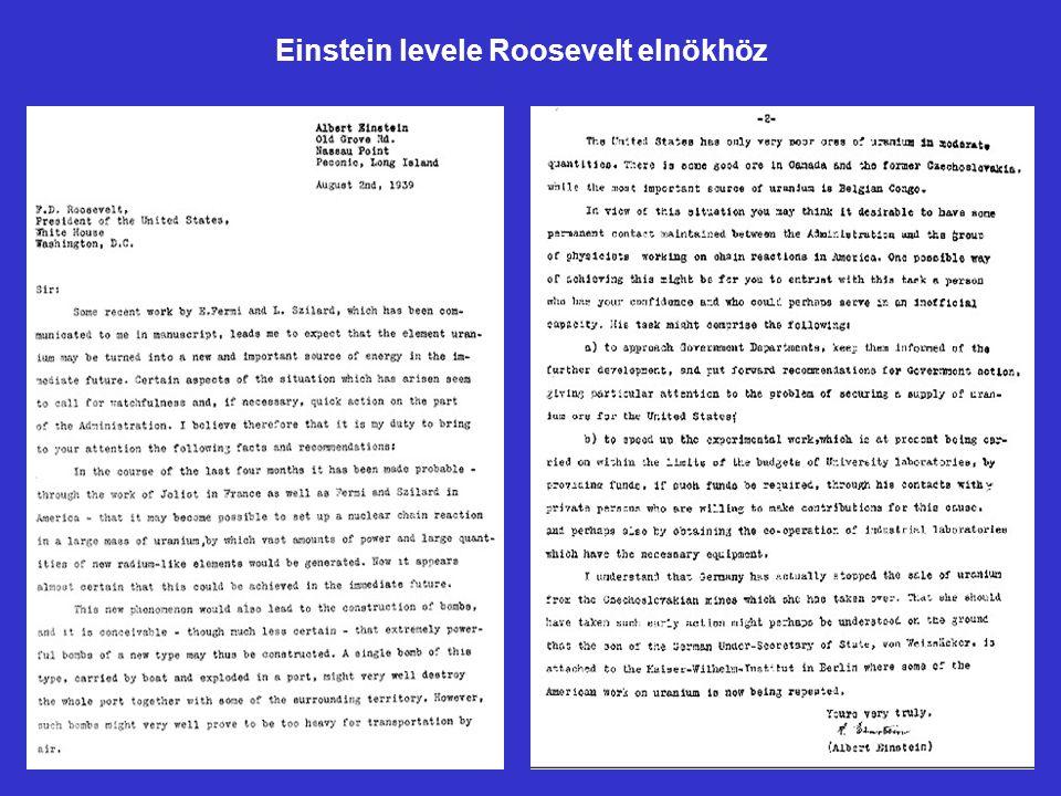 Einstein levele Roosevelt elnökhöz