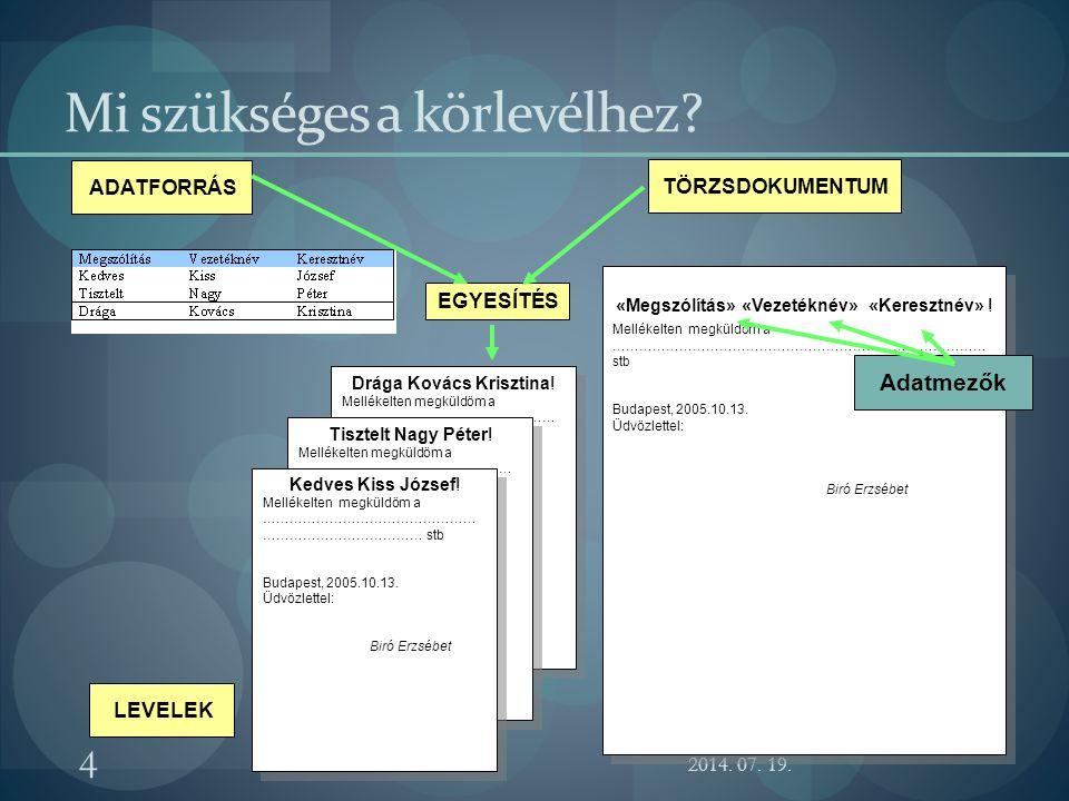 A körlevélkészítés menete 1.A törzsdokumentum létrehozása 2.