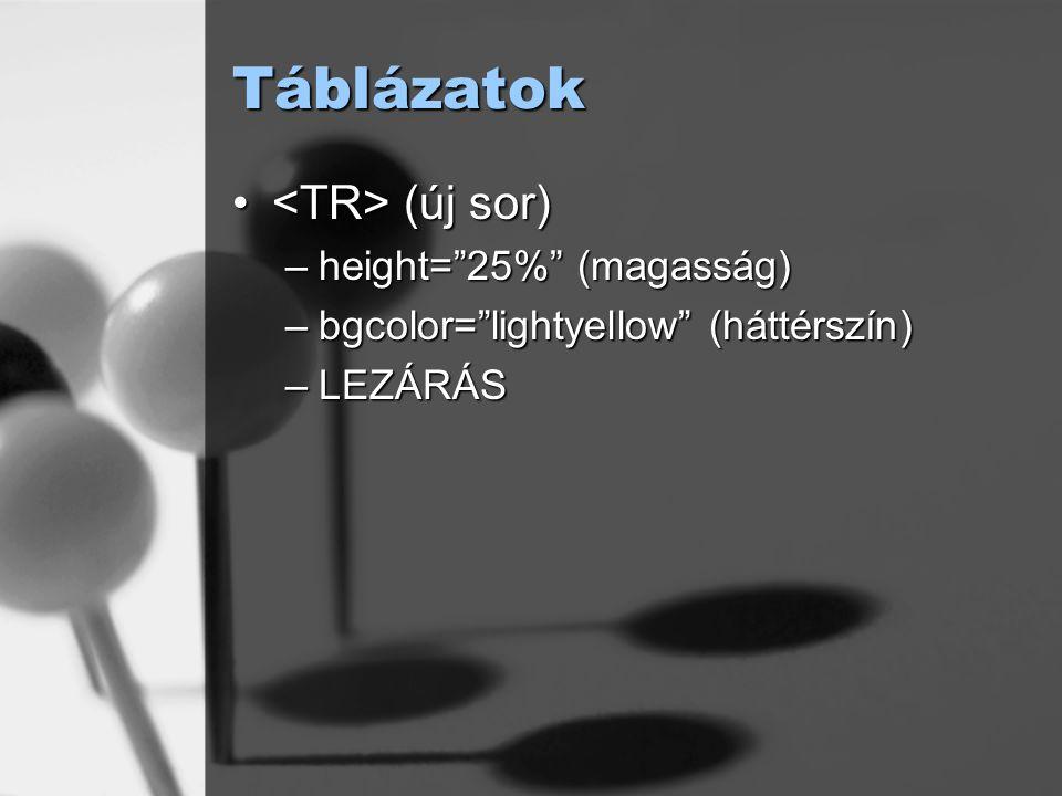 """Táblázatok (új sor) (új sor) –height=""""25%"""" (magasság) –bgcolor=""""lightyellow"""" (háttérszín) –LEZÁRÁS"""