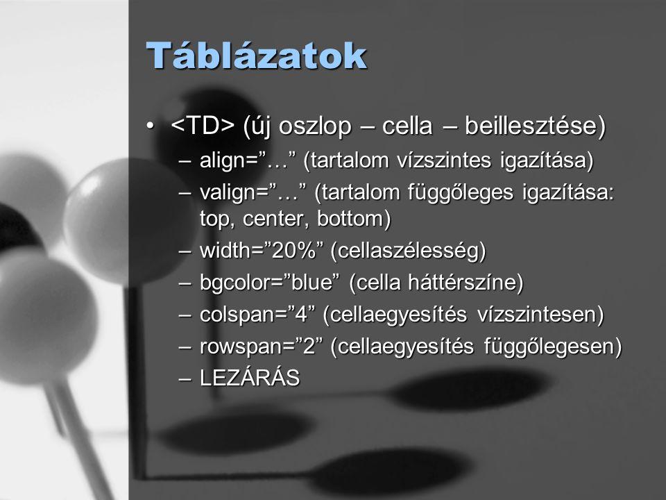 """Táblázatok (új oszlop – cella – beillesztése) (új oszlop – cella – beillesztése) –align=""""…"""" (tartalom vízszintes igazítása) –valign=""""…"""" (tartalom függ"""
