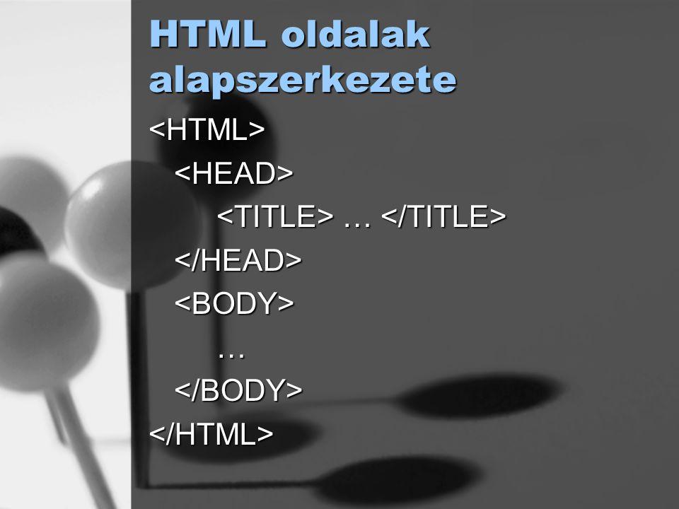 HTML oldalak alapszerkezete <HTML><HEAD> … … </HEAD><BODY>…</BODY></HTML>