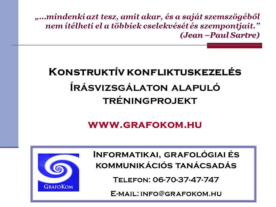 """Konstruktív konfliktuskezelés Írásvizsgálaton alapuló tréningprojekt www.grafokom.hu (Jean –Paul Sartre) """"…mindenki azt tesz, amit akar, és a saját sz"""