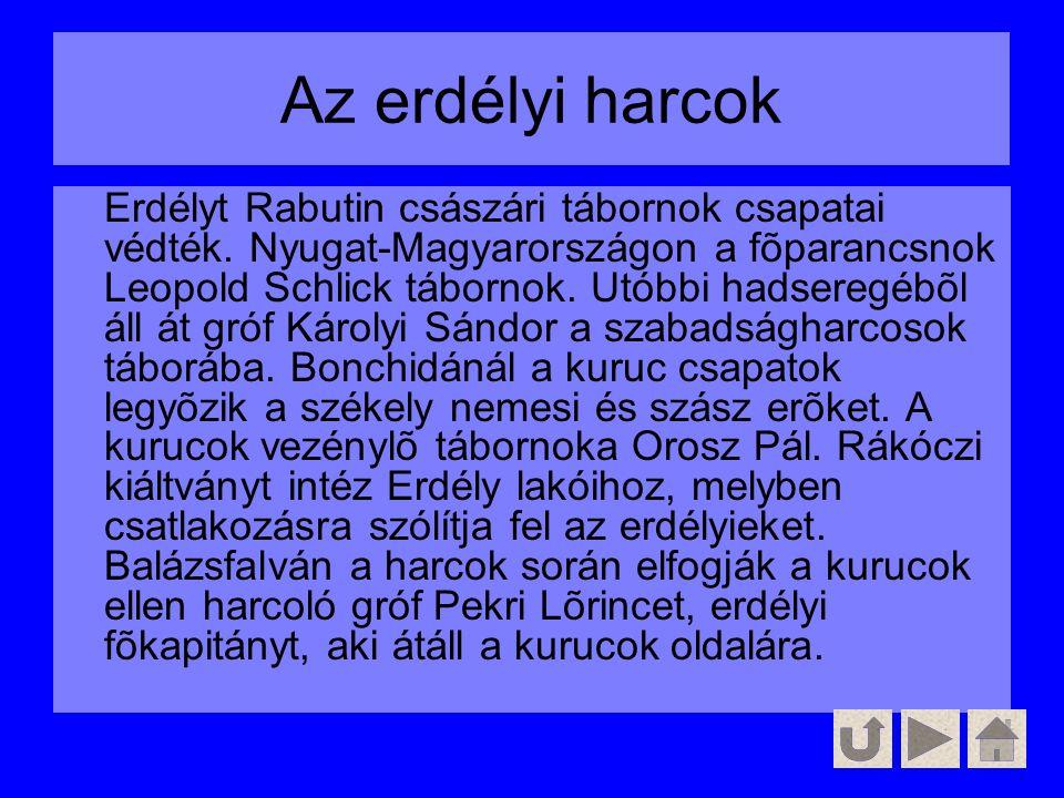 Az erdélyi harcok Erdélyt Rabutin császári tábornok csapatai védték. Nyugat-Magyarországon a fõparancsnok Leopold Schlick tábornok. Utóbbi hadseregébõ