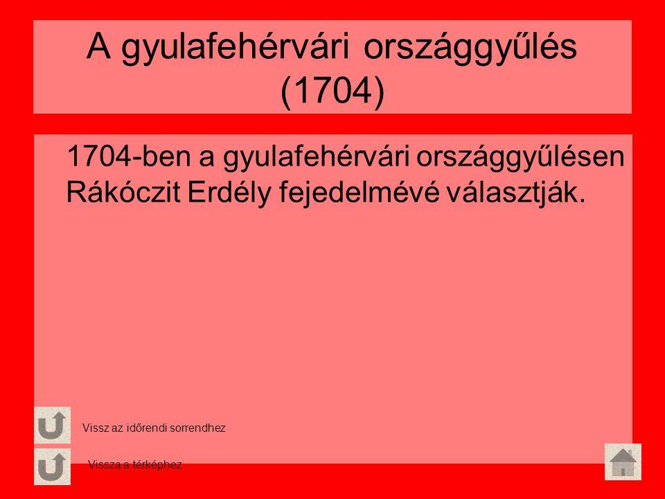 A gyulafehérvári országgyűlés (1704) 1704-ben a gyulafehérvári országgyűlésen Rákóczit Erdély fejedelmévé választják. Vissz az időrendi sorrendhez Vis
