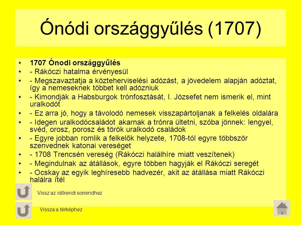 Ónódi országgyűlés (1707) 1707 Ónodi országgyűlés - Rákóczi hatalma érvényesül - Megszavaztatja a közteherviselési adózást, a jövedelem alapján adózta