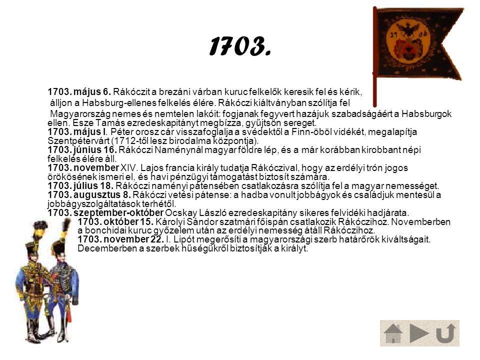 1703. 1703. május 6. Rákóczit a brezáni várban kuruc felkelők keresik fel és kérik, álljon a Habsburg-ellenes felkelés élére. Rákóczi kiáltványban szó