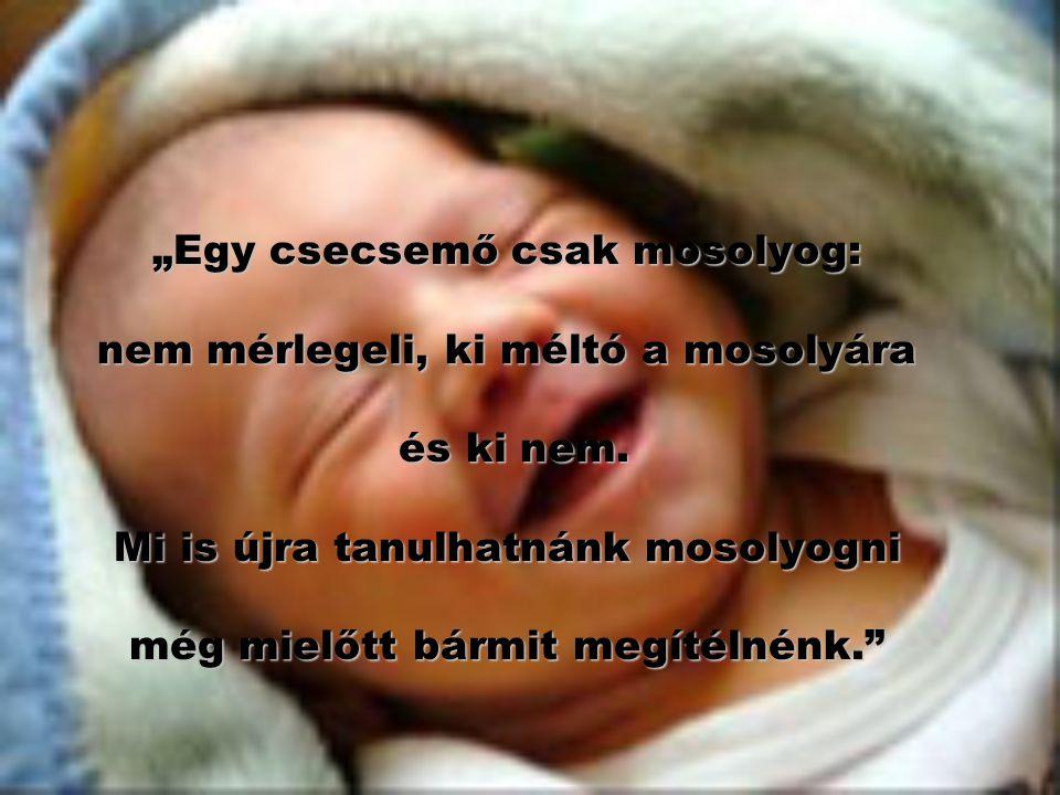 """""""Egy csecsemő csak mosolyog: nem mérlegeli, ki méltó a mosolyára és ki nem. Mi is újra tanulhatnánk mosolyogni még mielőtt bármit megítélnénk."""""""