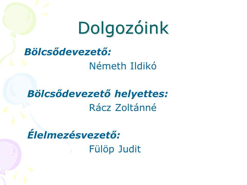 Dolgozóink Bölcsődevezető: Németh Ildikó Bölcsődevezető helyettes: Rácz Zoltánné Élelmezésvezető: Fülöp Judit