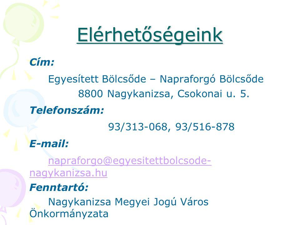 Elérhetőségeink Cím: Egyesített Bölcsőde – Napraforgó Bölcsőde 8800 Nagykanizsa, Csokonai u. 5. Telefonszám: 93/313-068, 93/516-878 E-mail: napraforgo