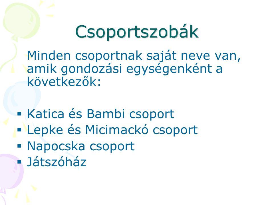 Csoportszobák Minden csoportnak saját neve van, amik gondozási egységenként a következők:  Katica és Bambi csoport  Lepke és Micimackó csoport  Nap