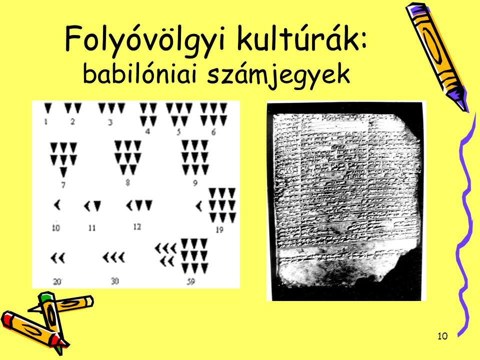 10 Folyóvölgyi kultúrák: babilóniai számjegyek