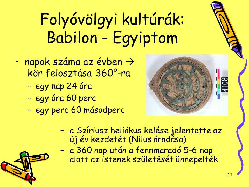 11 Folyóvölgyi kultúrák: Babilon - Egyiptom napok száma az évben  kör felosztása 360°-ra –egy nap 24 óra –egy óra 60 perc –egy perc 60 másodperc –a S