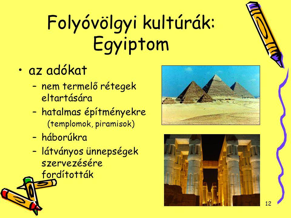 12 Folyóvölgyi kultúrák: Egyiptom az adókat –nem termelő rétegek eltartására –hatalmas építményekre (templomok, piramisok) –háborúkra –látványos ünnep