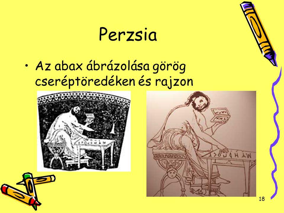 18 Perzsia Az abax ábrázolása görög cseréptöredéken és rajzon