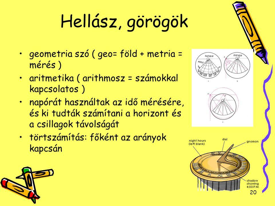 20 Hellász, görögök geometria szó ( geo= föld + metria = mérés ) aritmetika ( arithmosz = számokkal kapcsolatos ) napórát használtak az idő mérésére,