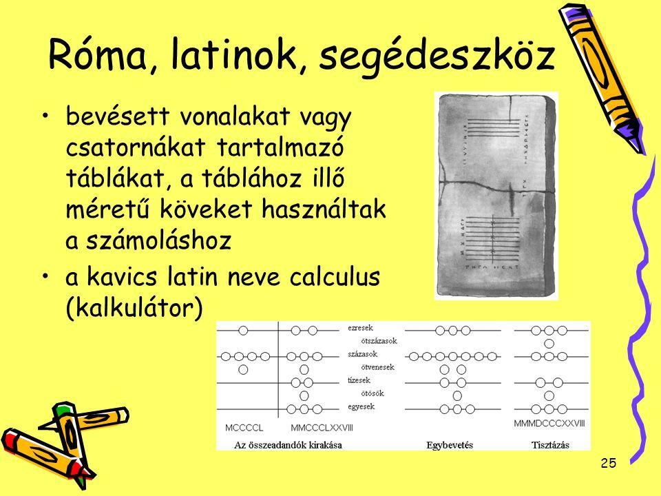 25 Róma, latinok, segédeszköz bevésett vonalakat vagy csatornákat tartalmazó táblákat, a táblához illő méretű köveket használtak a számoláshoz a kavic