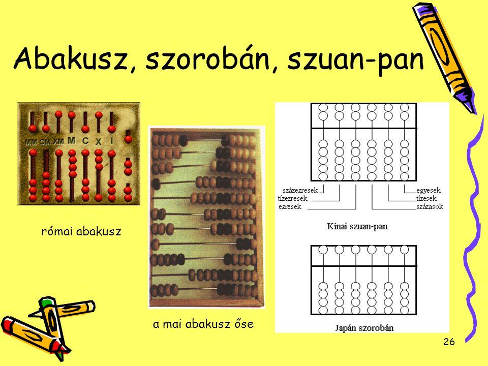 26 Abakusz, szorobán, szuan-pan a mai abakusz őse római abakusz