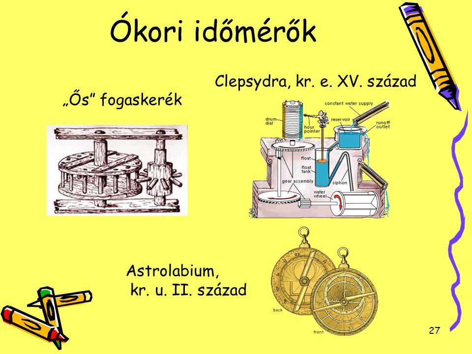 """27 Ókori időmérők """"Ős"""" fogaskerék Clepsydra, kr. e. XV. század Astrolabium, kr. u. II. század"""