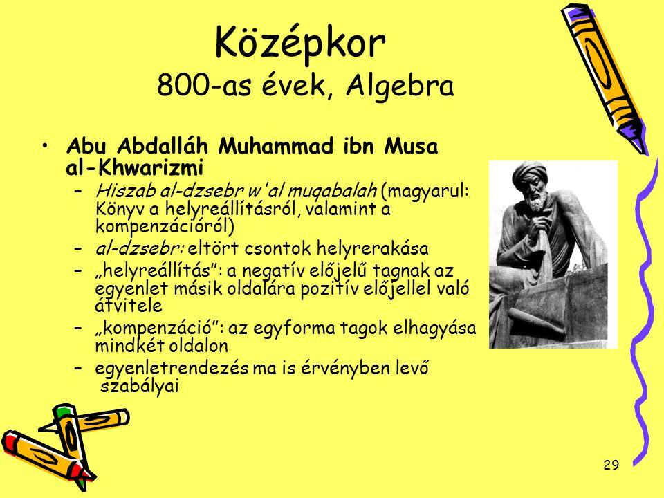 29 Középkor 800-as évek, Algebra Abu Abdalláh Muhammad ibn Musa al-Khwarizmi –Hiszab al-dzsebr w'al muqabalah (magyarul: Könyv a helyreállításról, val