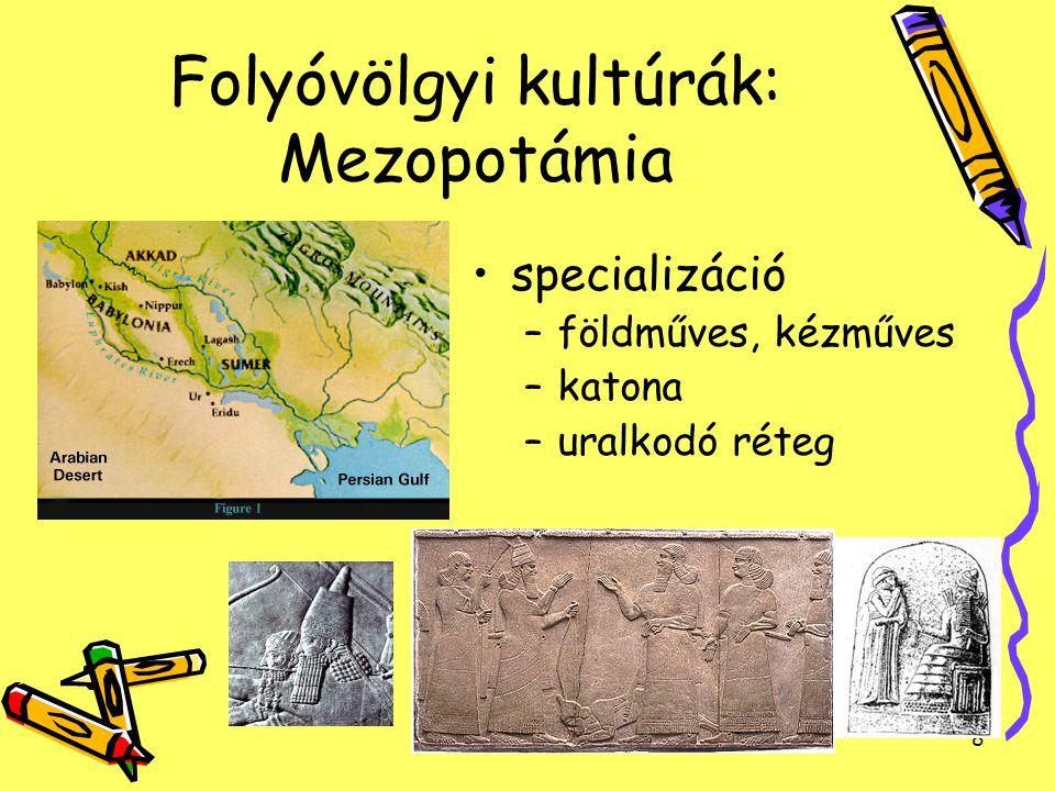 9 Folyóvölgyi kultúrák: Mezopotámia nem termelő rétegek eltartására nyilvántartás: agyagtáblán sumer írás- és számjegyek Adók: