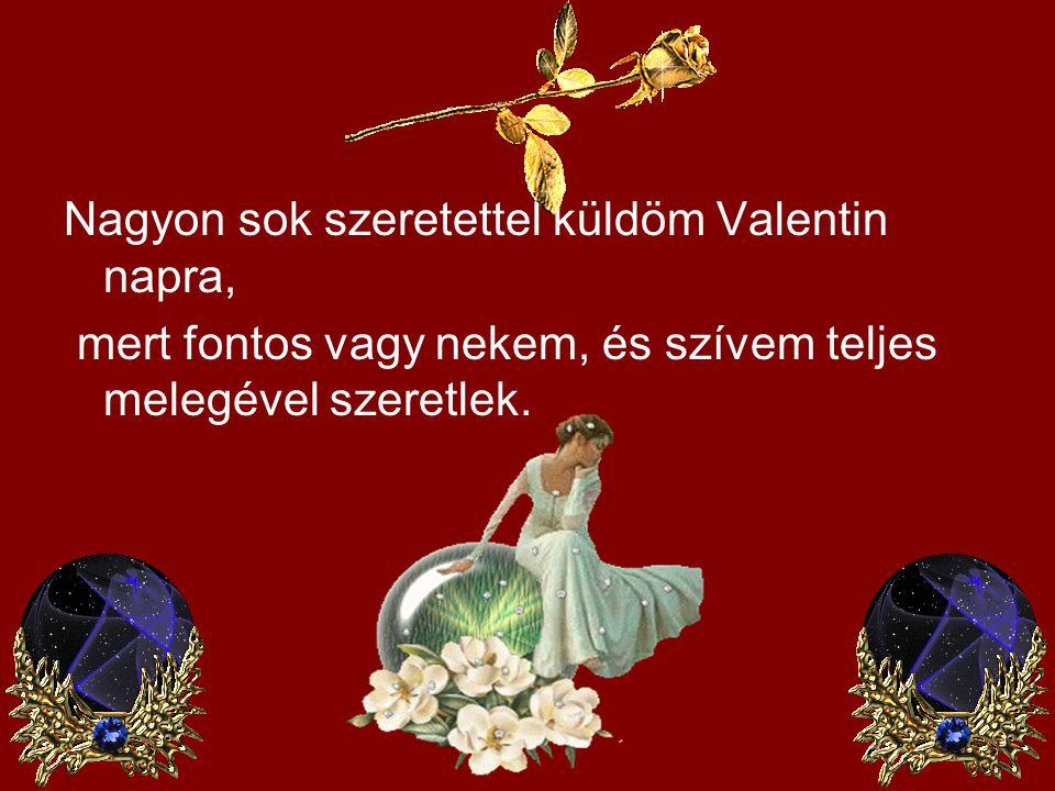Nagyon sok szeretettel küldöm Valentin napra, mert fontos vagy nekem, és szívem teljes melegével szeretlek.