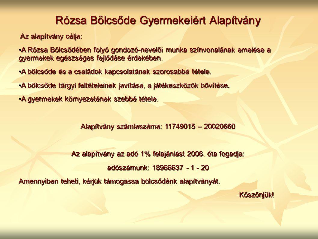 Rózsa Bölcsőde Gyermekeiért Alapítvány Az alapítvány célja: Az alapítvány célja: A Rózsa Bölcsődében folyó gondozó-nevelői munka színvonalának emelése