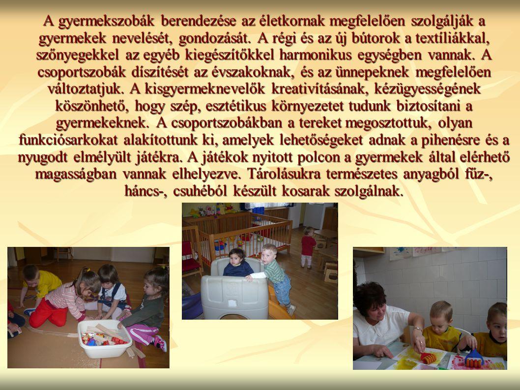 A gyermekszobák berendezése az életkornak megfelelően szolgálják a gyermekek nevelését, gondozását. A régi és az új bútorok a textíliákkal, szőnyegekk