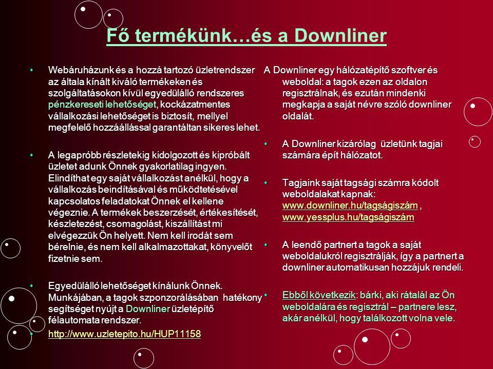Regisztrációjával Ön is megkapja saját Online üzletét, saját Downliner automatáját (saját nevével, tagi számával ellátva).